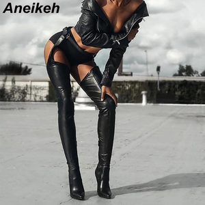 Aneikeh Rihanna Style Women PU Over Knee Boots High Boots Women Shoes Pointed Toe Thigh High Heels Boots for Women Size 35-42(China)