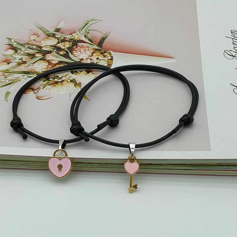 2019 nueva pulsera de pareja de moda para hombres mujeres amor corazón bloqueo diseño cuerda pulsera regalo para amigo fiesta boda joyería