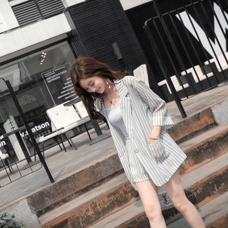 Korean Elegant Womens Striped Two Piece Suit Outfits Three Quarter Sleeve Single Button Blazer Elastic Waist Wide Leg Hot Shorts