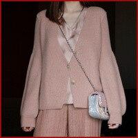 Winter Women's New 2020 goat wool Loose Long Sleeve Knit Sweater Cardigan Coat Thick Winter Women Cardigans Sweater