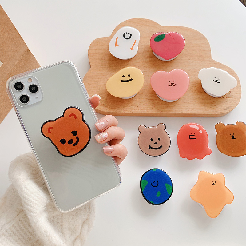 Funny Cute Folding Stand For Mobile Phone Holder For IPhone 7 Plus 11 For Samsung For Huawei Phone Case Cartoon Grip Kichstand