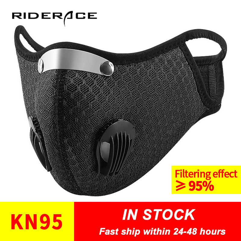KN95 Face Mask With Filter Breathing Valve Activated Carbon PM 2.5 Anti-Pollution Bicycle Cycling Sport Bike Dust Mask
