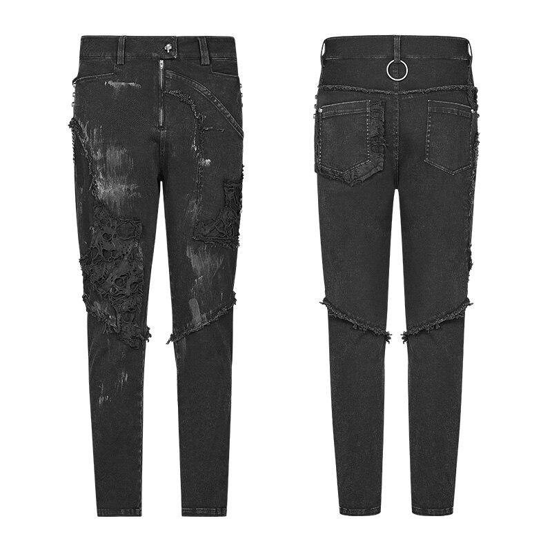 Модные мужские длинные брюки в стиле панк рок с кожаной поясной сумкой в стиле стимпанк, винтажные брюки на Хэллоуин, повседневные мужские м... - 5