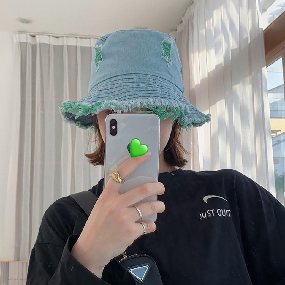 New Fashion Denim Hole edging Bucket Hats Fisherman Caps For WomenMen Casual Gorras Summer sun Protect Autumn hat Unisex Hip hop
