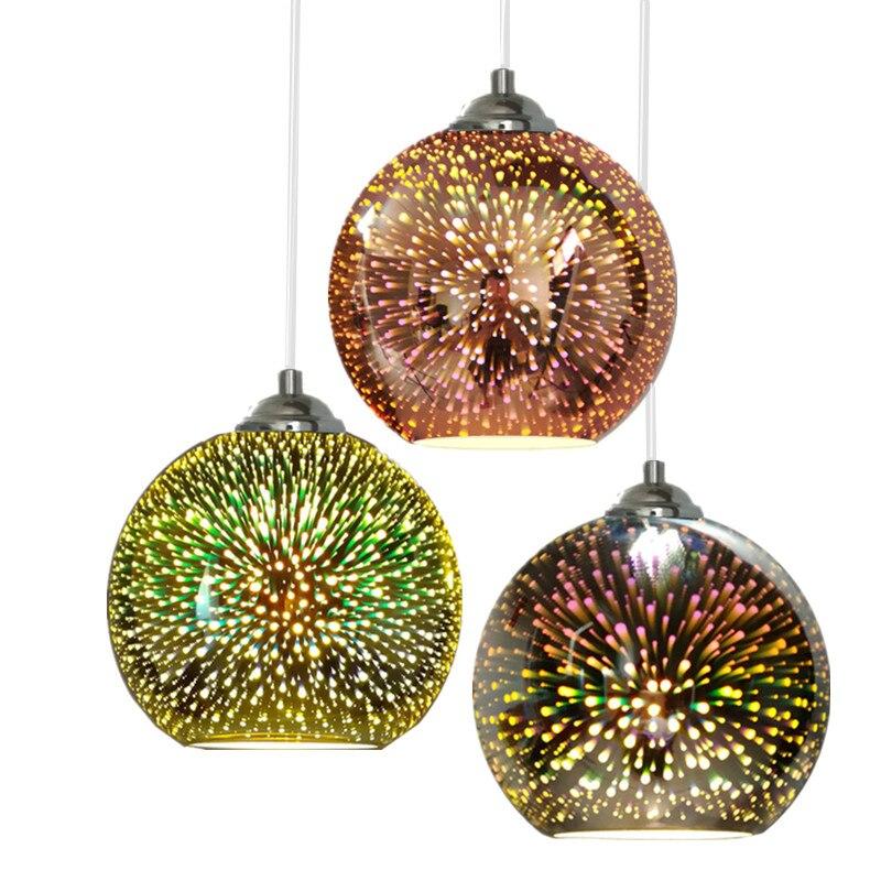 Modern 3D Colorful Pendant Lights Nordic Starry Sky Hanging Glass Shade Pendant Lamp E27 LED For Kitchen Restaurant Living Room