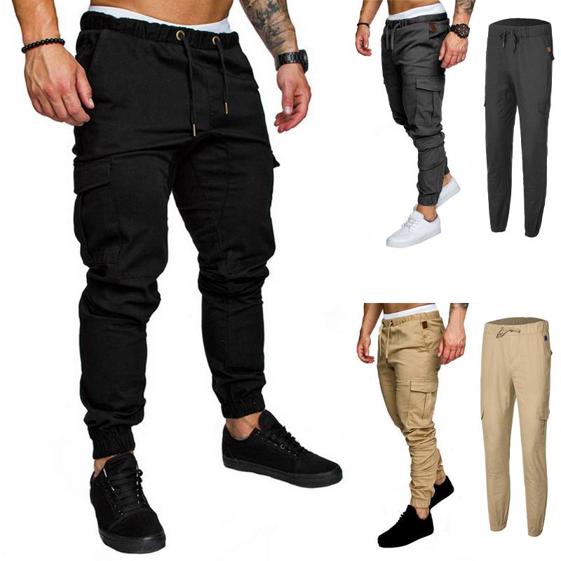 Spring Men Joggers Pants Solid Cargo Pants Men Sweatpants Male Multi-pocket Trousers Black Men's Sportswear Hip Hop Harem Pants