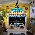 16 дюймов Тиффани Средиземноморский витражный подвесной светильник E27 110-240 В цепь подвесной светильник для дома  гостиной  столовой