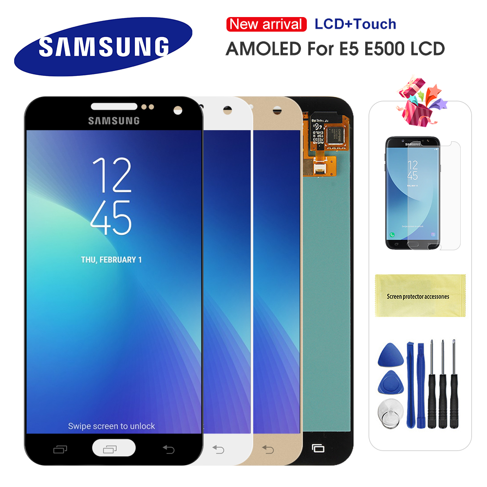 Original AMOLED <font><b>LCD</b></font> Für <font><b>Samsung</b></font> <font><b>Galaxy</b></font> <font><b>E5</b></font> E500 E500F E500H E500M <font><b>LCD</b></font> Display Touchscreen Digitizer Montage Ersatz image