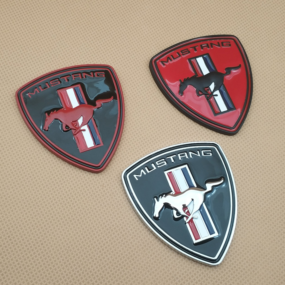 Metal Car Styling Running Horse Door Badge Sticker Trunk Fender Auto Emblem 3 Colour Decal For Mustang title=
