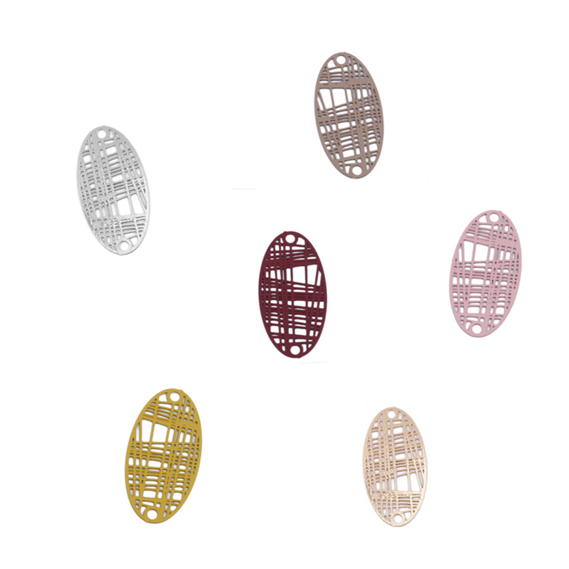 DoreenBeads Copper Filigree Stamping Connectors Oval Style Wine Red Colorful Stripe DIY Charms Findings 24mm X 13mm, 10 PCs