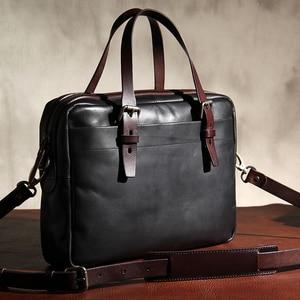 Image 2 - กระเป๋าผู้ชายใหม่ผักกระป๋องหนังกระเป๋าถือกระเป๋าเอกสาร Retro หนังผู้ชายธุรกิจไหล่กระเป๋าคอมพิวเตอร์กระเป๋าเดิม