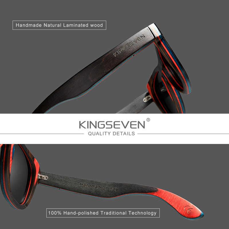 Kingseven 2020 marca designer de madeira óculos de sol novos homens polarizados azul madeira óculos de sol com caixa original retro vintage