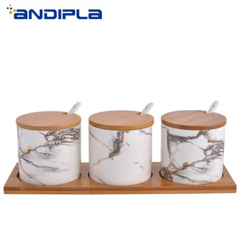 Nordic Creative Marble Texture Ceramic Gravy Boats Storage Spice Jar Oil Salt Soy Sauce Cans Home Kitchen Accessories Tableware