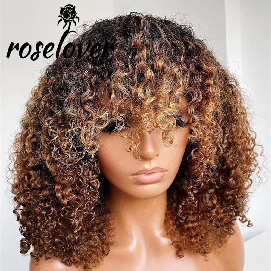 Парик Roselover 13*4 с фронтальной сеткой, парики из человеческих волос с челкой, предварительно выщипанные волосы, отбеленные узлы, парики без по...