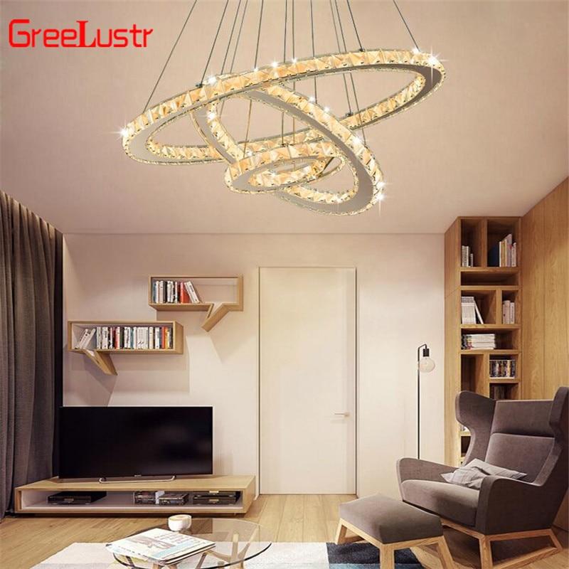 Modern K9 Crystal Led Chandelier pendant lamp 3Rings Crystal Hanging Light for Living Room luminaire Chandeliers Light 110V-220V