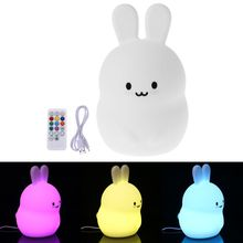 Night Light Portable Silicone Rabbit Children Kids LED Multicolor Night Lamp USB Charging Light for LED