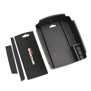 Image 2 - Caixa de armazenamento de braço central do carro recipiente titular bandeja para kia sportage kx5 ql em lhd 2016 2017 (para freio de mão eletrônico)