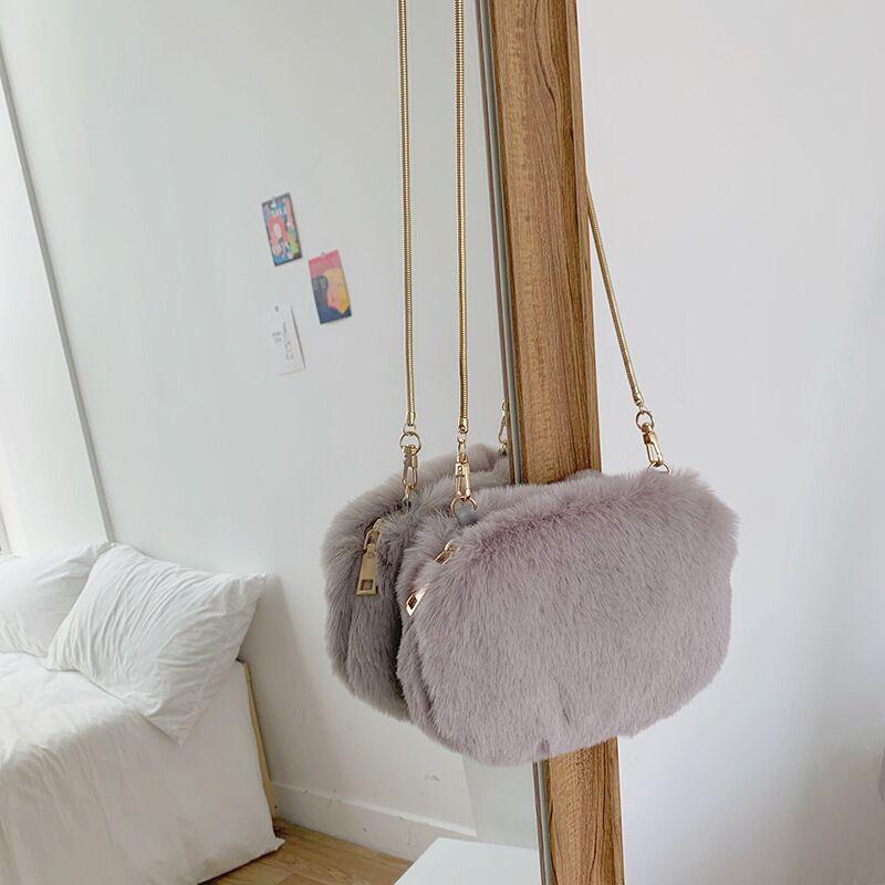 Vento Marea Crossbody Bags For Women 2019 New Chain Faux Fur Winter Handbags Trend Shoulder Bag Female Black Party Clutch