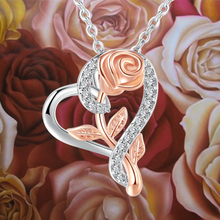 Pendant Heart Necklaces For Women Zircon Aesthetic Rose Flower Choker Chains Silver Color Gifts jewelry Wholesale N172
