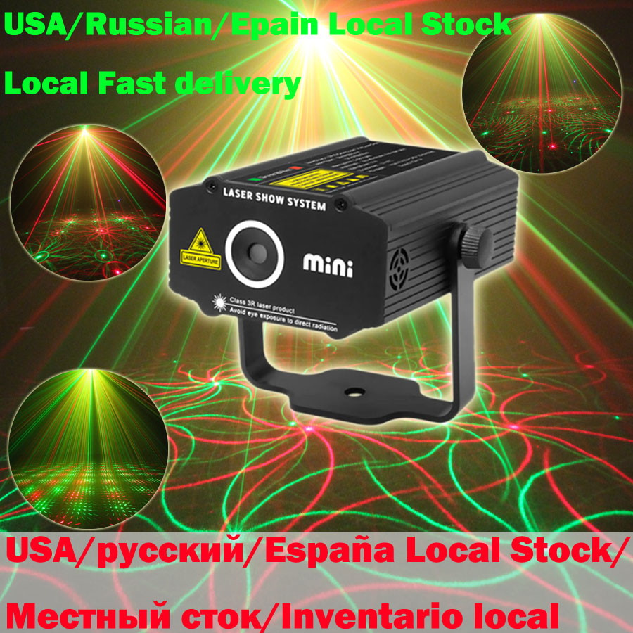 USA/Russian/Epain Local Stock R&G Laser 4 Patterns Projector DJ Dance Disco Bar Party Christmas Stage Effect Light N7P4