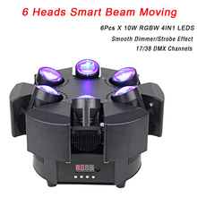 2020 New Arrival LED 6 głowy inteligentne wiązki ruchu RGBW 17/38CH DMX światła sceniczne Dj Led reflektor z ruchomą głowicą impreza muzyczna Disco KTV