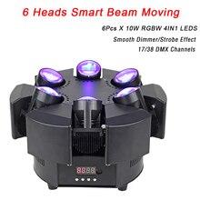 2020 nova chegada led 6 cabeça feixe inteligente movendo rgbw 17/38ch dmx luzes do palco dj led movendo a cabeça feixe de luz música festa discoteca ktv