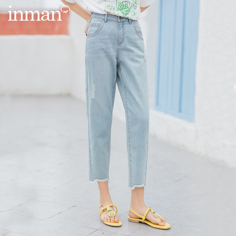 INMAN 2020 Summer New Arrival Pure Cotton Whisker Wear Fashion Leisure Ankle Length Pencil Jeans