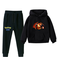 Pokemon hoodie set for children, Autumn Winter, warm, boy, girl, hoodie, sweater, sports pants, children, clothing sets 2 pieces