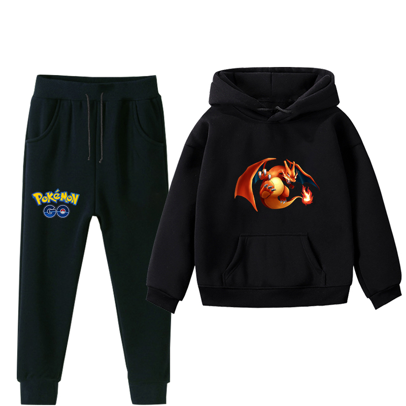 Pokemon hoodie set for children, Autumn Winter, warm, boy, girl, hoodie, sweater, sports pants, children, clothing sets 2 pieces image