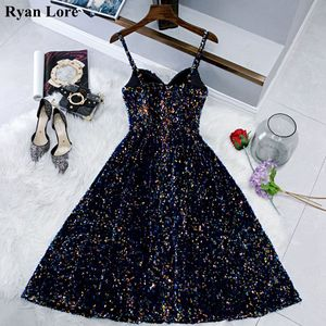 Image 1 - Navy Blue Short Prom Dresses Shiny Sequined Vestidos De Gala 2020 Women Cocktail Dress Party Graduation Gowns Homecoming Robe
