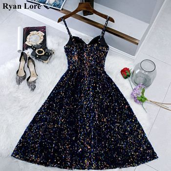 Navy Blue Short Prom Dresses Shiny Sequined Vestidos De Gala 2020 Women Cocktail Dress Party Graduation Gowns Homecoming Robe - discount item  40% OFF Special Occasion Dresses