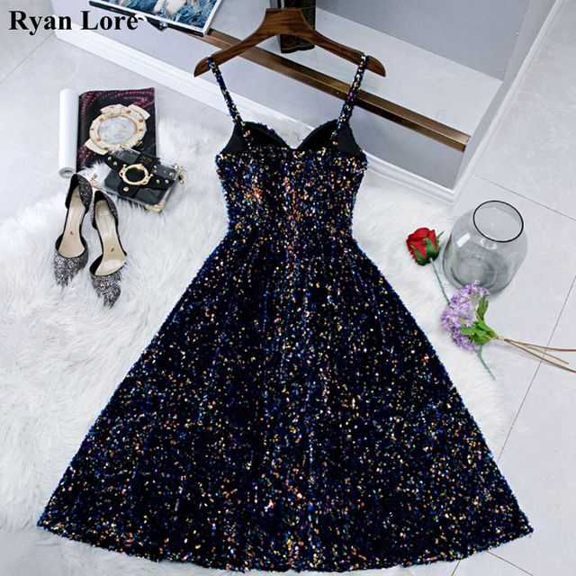 Navy Blue Short Prom Dresses Shiny Sequined Vestidos De Gala 2020 Women Cocktail Dress Party Graduation Gowns Homecoming Robe