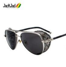 Jackjad óculos de sol estilo steampunk, óculos de sol vintage, feito à mão, com lente lateral 2020