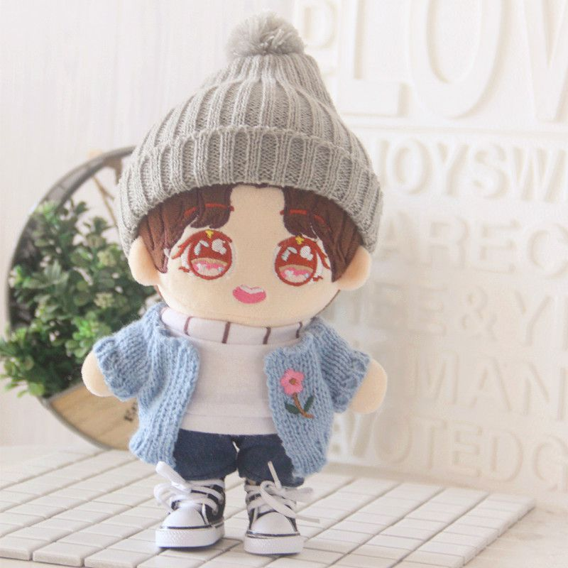 [MYKPOP]KPOP Doll's Clothes And Accessories: Bobble Hat+Sweat+Cardigan+Pants(without Doll) For 20cm Dolls Fans Gift SA20200608