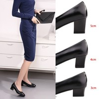 Genuine Leather Work Shoes Airline Stewardess Shoes Low Heel Shoes High Heel Shoes Pointed Toe Flat Top Shoes Single Shoes Socia|Sapateiras e organizadores de sapato| |  -