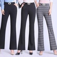 Mulher outono inverno elasticidade sino calças inferiores mais tamanho de cintura alta elegante magro moda senhoras comprimento total queimado