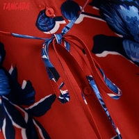 Tangada 2021 Autumn Fashion Women Red Flowers Print Elegant Midi Dress Long Sleeve Office Ladies Dress BE375 4