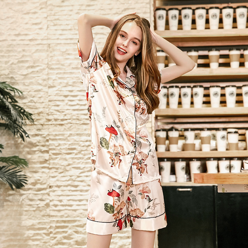 Yao Ting Silk Pajamas Women's Summer Short-sleeved Shorts Two-Piece Set Tracksuit Tz862