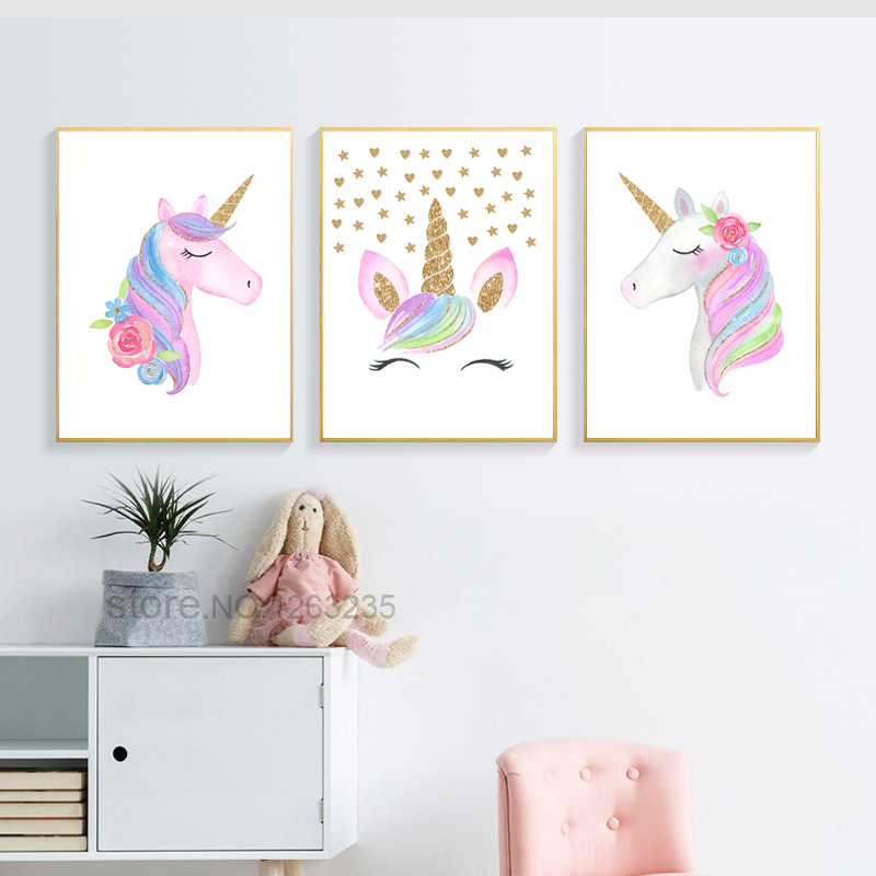 UNICORN Print Watercolor Picture Wall Art Framed Canvas Gift Nursery Art