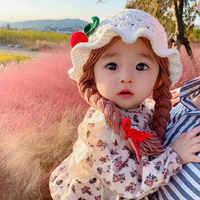 Nette Hüte Für Baby Mädchen Braid Bonnet Kinder Frühling Beanie Hohl Kleinkind Kind Handgemachte Woolen Ohrenschützer Kappe Neugeborenen Foto Requisiten
