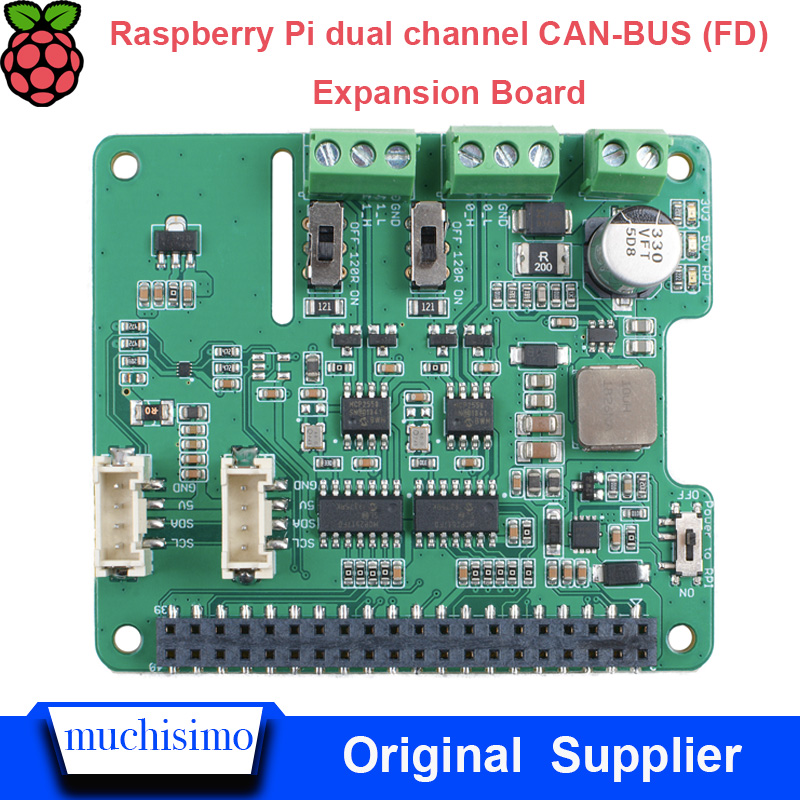 Raspberry Pi 3B Pi 2B  Dual Channel CAN-BUS (FD) Expansion Board Automotive Bus Expansion Board AI Robot Car Bus Expansion Board