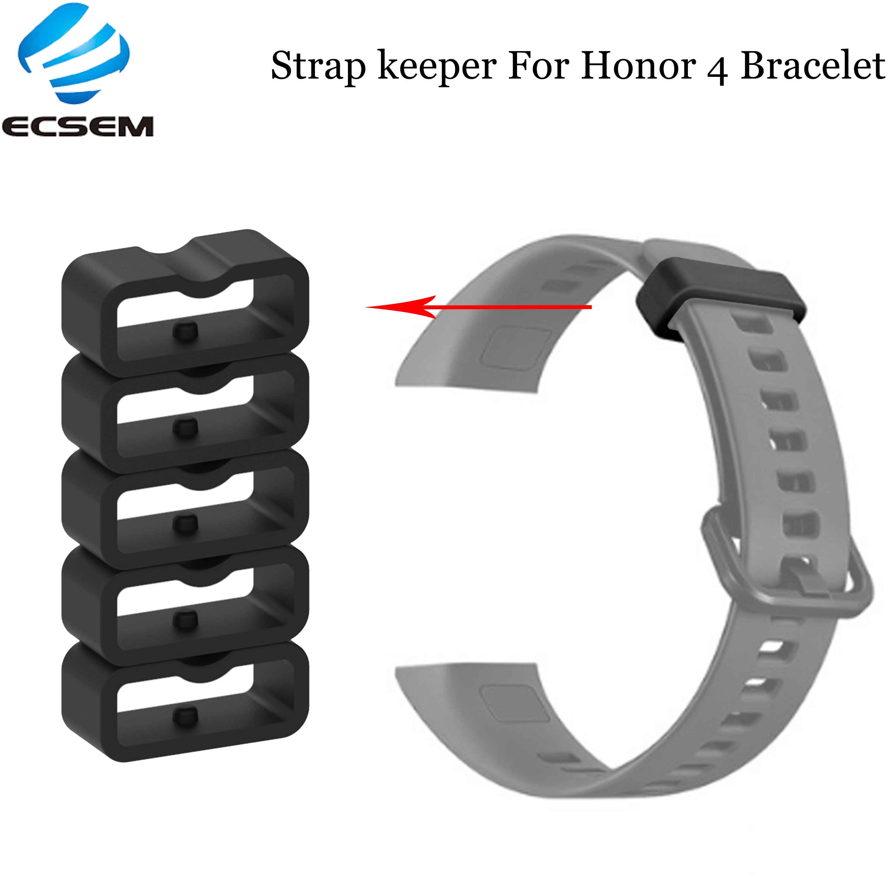 Ecsem 16mm Strap Keeper For Honor 4 Band Silicone Loop Replacement Watch Band Retaining Hoop Rubber Retainer Security Holder