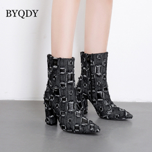 BYQDY Autumn Woman Boots Denim Zip Ankle Patchwork Square High Heels Shoes Punk Short Booties Ladies Zapatos Solid Black