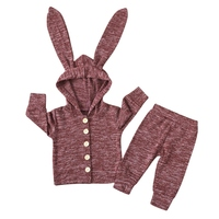 New Arrived Baby Girl Tops Newborn Clothing Baby Girl Clothing Bunny Ears Hooded Top + Pants Suit Sweater Set
