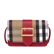 One shoulder women's bag retro girl color contrast leather buckle diagonal straddle bag magnetic buckle Stripe Mini square bag