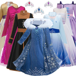 New Anna Elsa Princess Dress For Girls Birthday Evening Party Dress Carnival Costume Children Christmas Dress 2 5 6 8 9 10 Year(China)