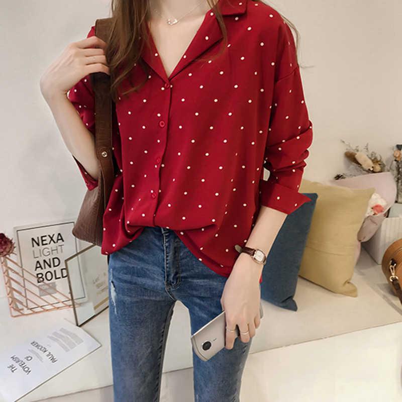 Chiffon Blouse Plus Size Elegante Vrouwen Dots Gedrukt Button Up Dames Top Shirt Koreaanse Mode 2020 Zwarte Lente Kleding Vest
