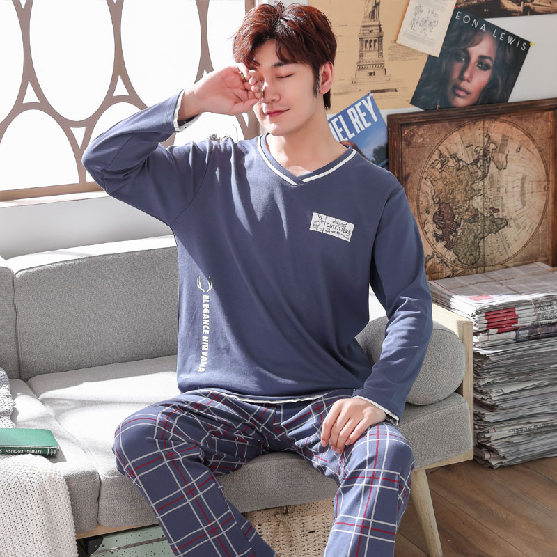 Men's Pajamas Long Sleeve 100% Cotton Plus Size 4XL 5XL Men Pyjamas Sets Sleepwear Sets Father Pajamas Loose Elastic Pants Home