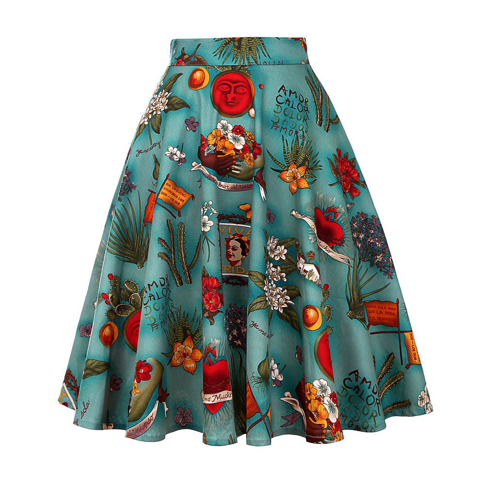 2020 Vintage Retro 50s Full Circle A Line Skirt Swing Holiday Tropical Pin Up Swing Skirt Knee Length Floral Skirts Women