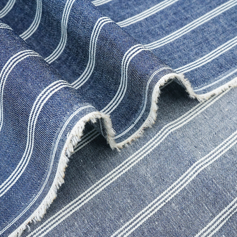 High quality stripe denim fabric washed plain woven 100% cotton for T-shirts